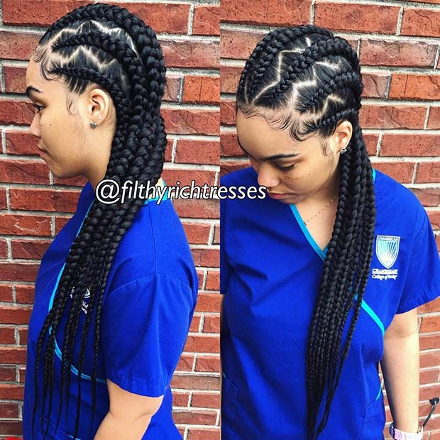 Zig Zag Feed in Cornrows