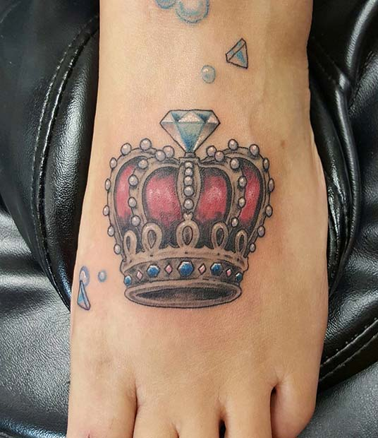 เพชร and Crown Foot Tattoo Idea for Women