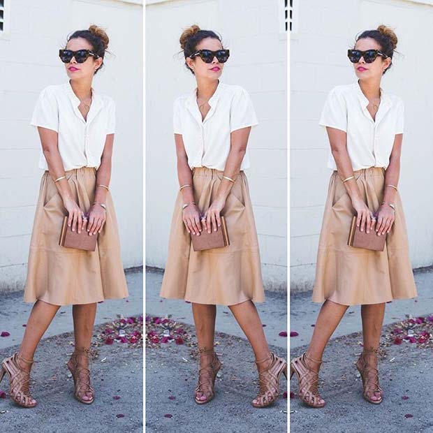 सफेद Shirt and Midi Skirt Outfit
