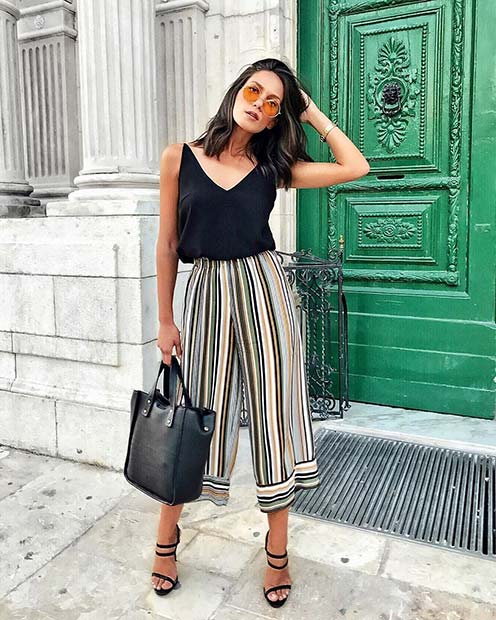 गर्मी Stripe Culottes Outfit Idea for Work