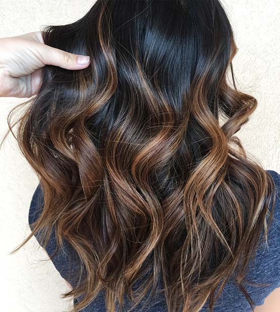 Sunkissed Brown Highlights for Dark Brown Hair