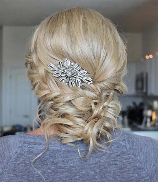 accessorized Braided Updo for Bridesmaid Hair Ideas