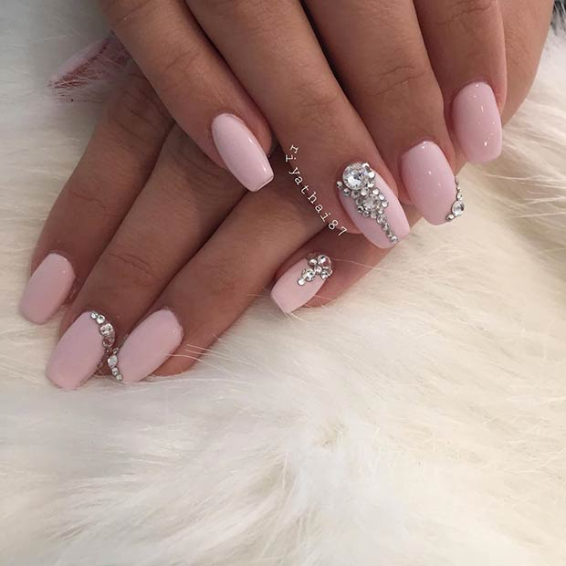 Светло Pink Coffin Nails with Rhinestones for Prom