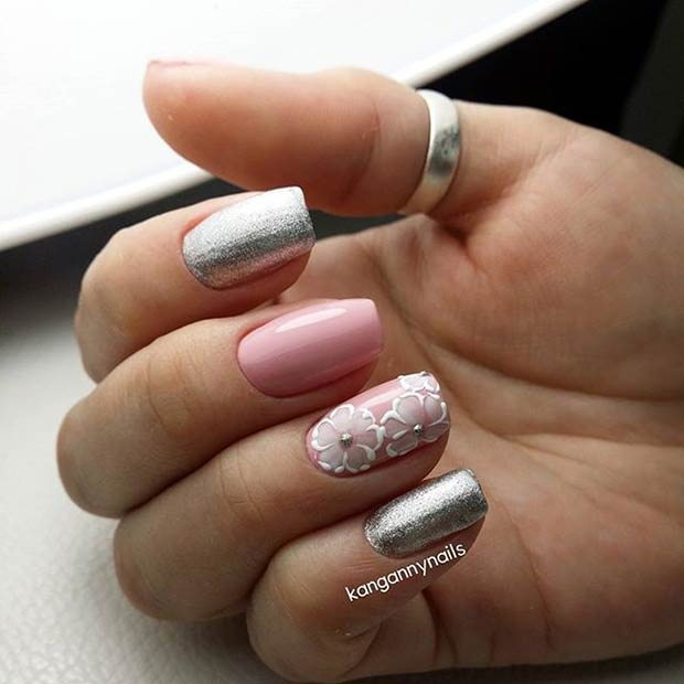 Пинк and Silver Metallic Nail Art Design for Prom