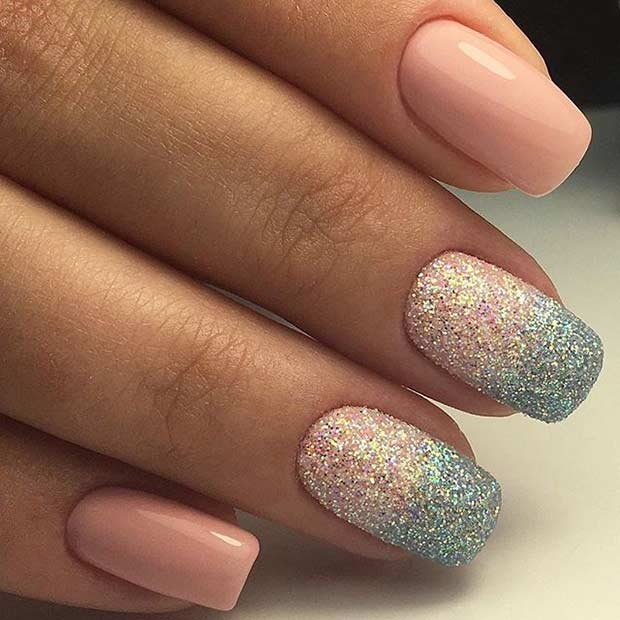 Пинк and Sugar Glitter Ombre Nails for Prom