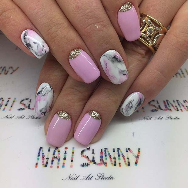 Пинк Marble Nail Art Design for Prom