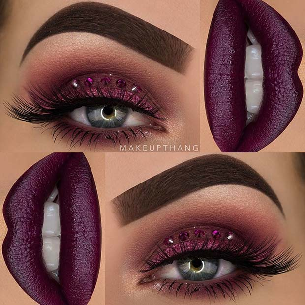 נִצנוּץ and Gems Purple Eye Makeup Look