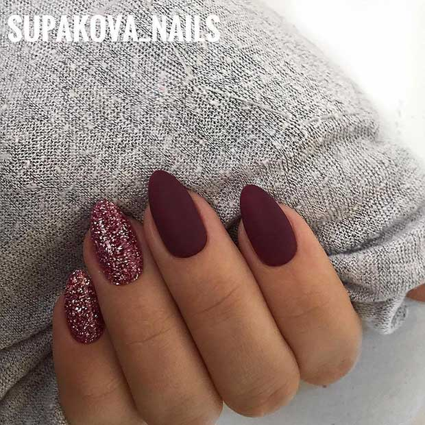 Бургунди Matte Stiletto Nails with Glitter