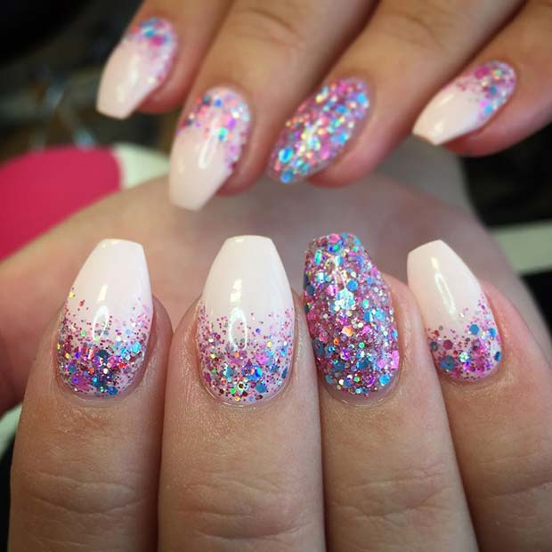 Мулти Glitter Gel Manicure for Glitter Nail Design Idea