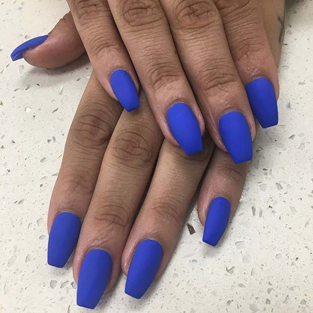 Djärv Blue Nails for Matte Nail Designs for Fall