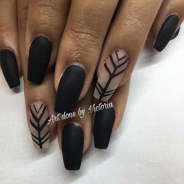 Svart Matte Nails with Patterned Accent Nail for Matte Nail Designs for Fall