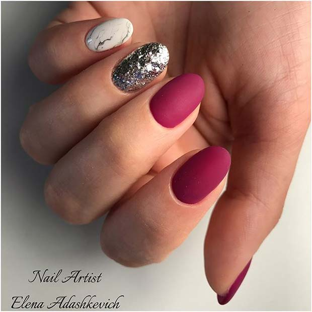 Glitter, Marble and Matte Nail Art for Matte Nail Designs for Fall