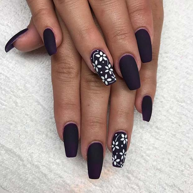 Vit Floral Nail Art for Matte Nail Designs for Fall