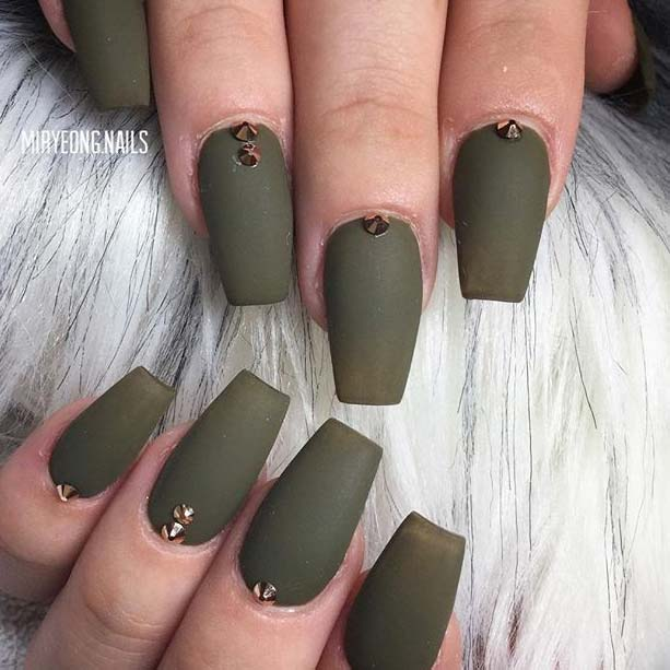 Mat Khaki Green with Embellishments for Matte Nail Designs for Fall