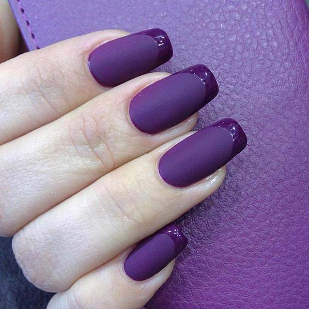 purpurna boja Matte French Manicure for Matte Nail Designs for Fall