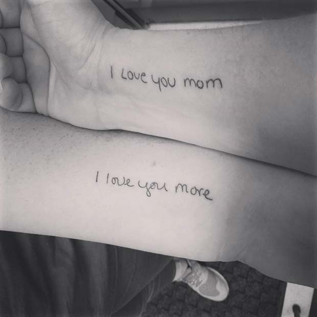 Aşk You Mom Tattoo for Popular Mother Daughter Tattoos