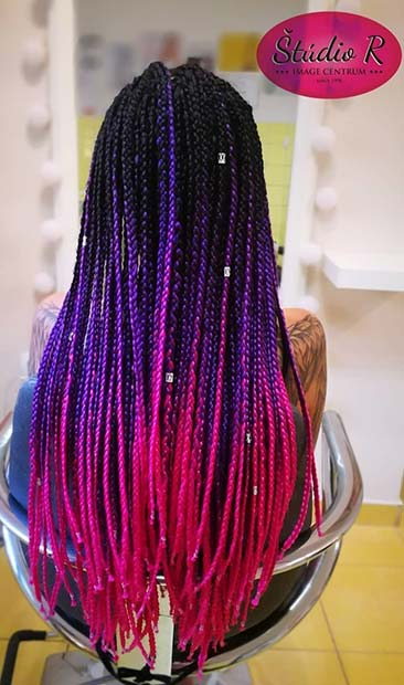 Lila to Pink Ombre Box Braids
