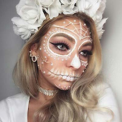 Frumos Day of the Dead Skeleton for 23 Pretty Halloween Makeup Ideas