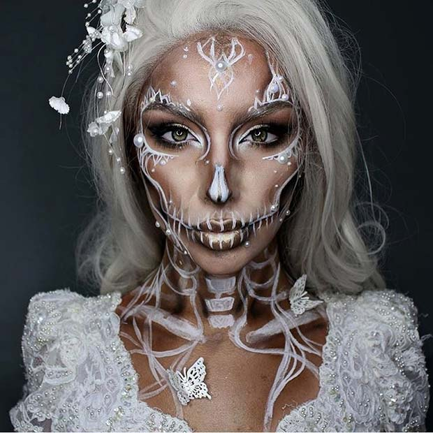 alb and Pearl Skeleton Makeup for Pretty Halloween Makeup Ideas