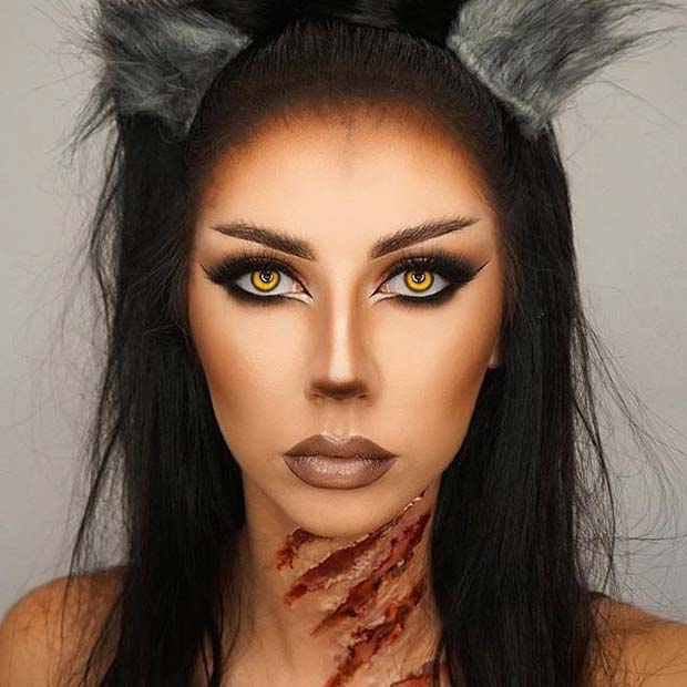 भेड़िया Halloween Makeup for Pretty Halloween Makeup Ideas