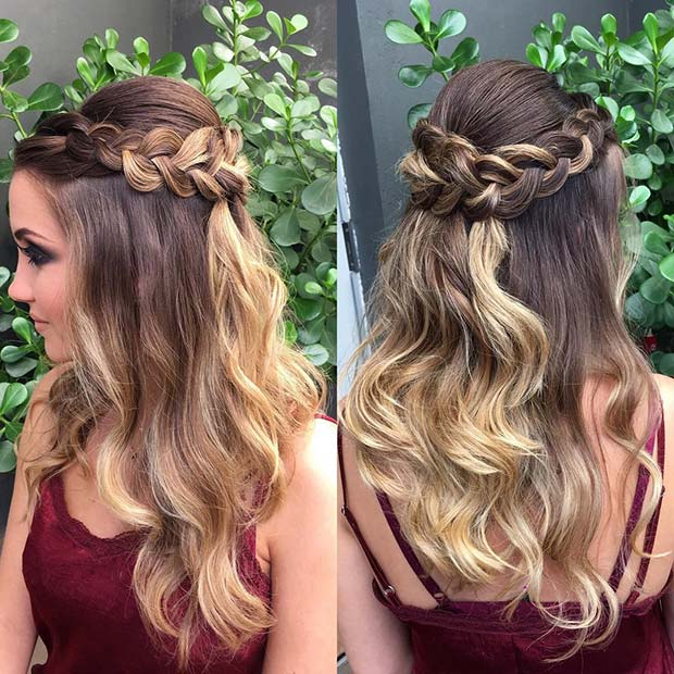 Пола Up Hairstyle with a Loose Braid