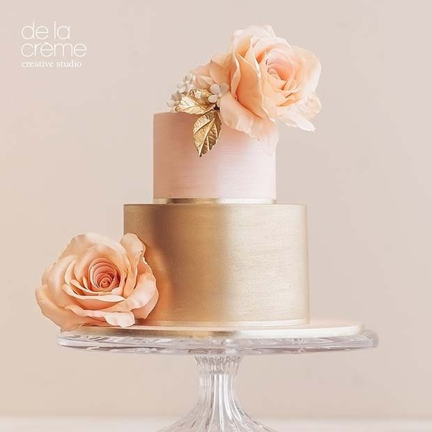 Reste sig Gold and Pink Wedding Cake with Flowers