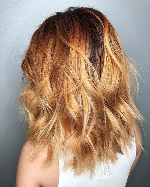 Топло Summery Balayage + Messy Lob Cut