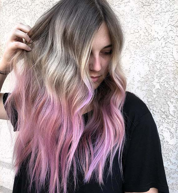 Светло Pink Ombre Hair Color Idea