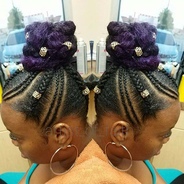 कायरता Purple Summer Bun for Summer Protective Styles for Black Women