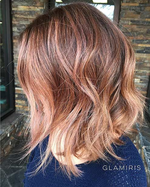 ince Rose Gold Long Bob Hairstyle