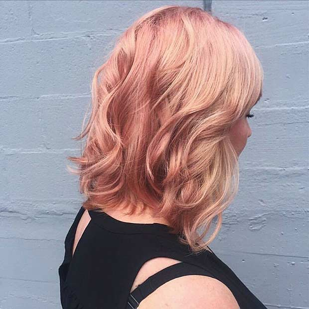 Rose Gold Lob Hairstyle