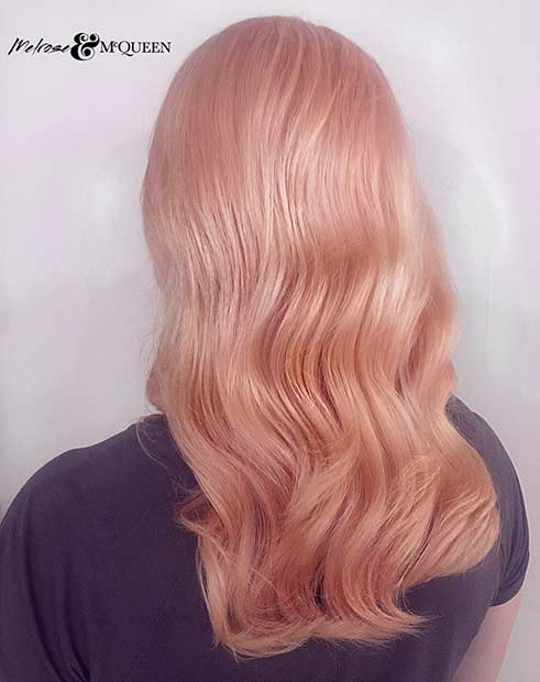 Dusty Rose Gold Hair Color Idea