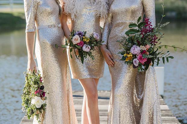 Guld Glitter Dresses for Bridesmaids