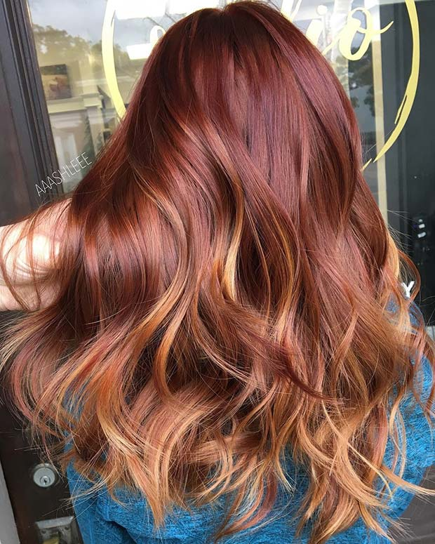 लाल to Copper Balayage Hair
