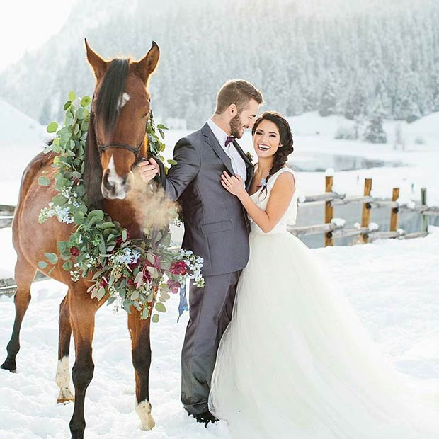 Зима Wedding Photography with a Horse