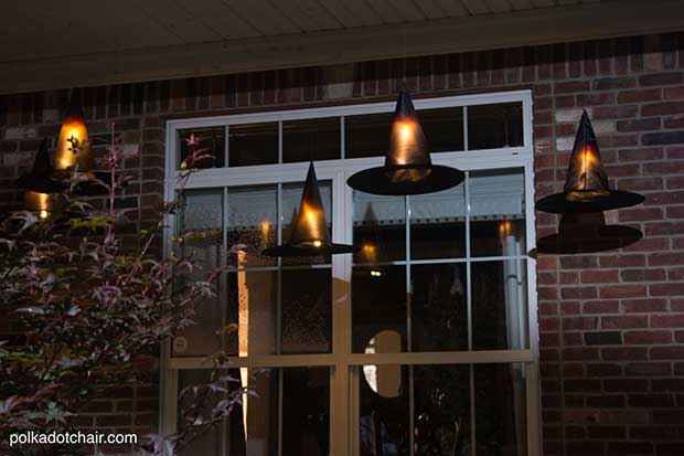 DIY Floating Witch Hat Luminaries Halloween Porch Decoration