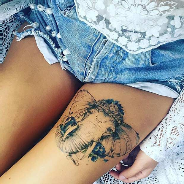 ช้าง Thigh Tattoo Idea