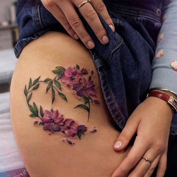 ตอนบน Side Thigh Flower Tattoo Idea for Women