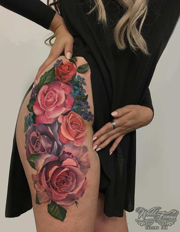 צִבעוֹנִי Flower Thigh Tattoo Design for Women
