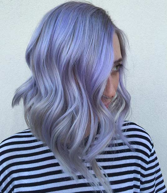 Lavanda and Grey Long Bob Hairstyle