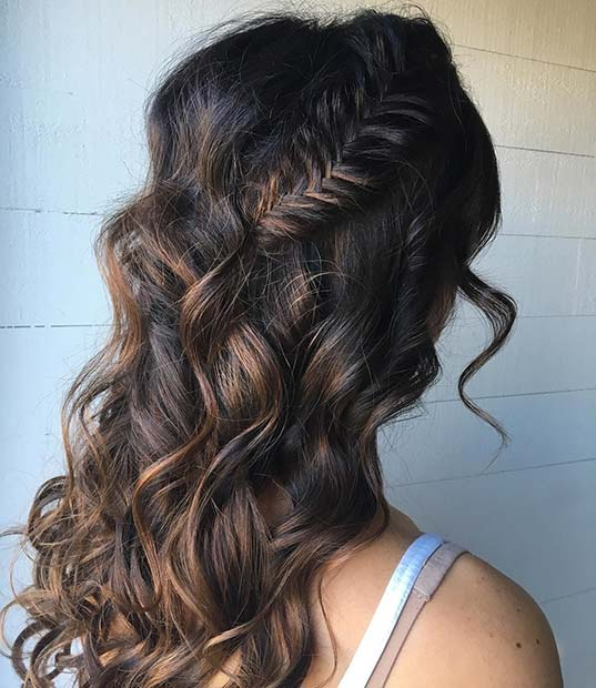 Fishtail Braid and Loose Curls