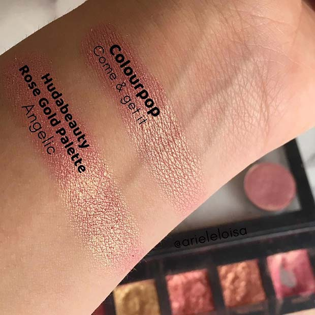 Huda Beauty Rose Gold Palette Angelic Dupe