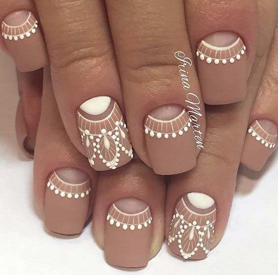 Mat Neutral and White Design for Short Nails