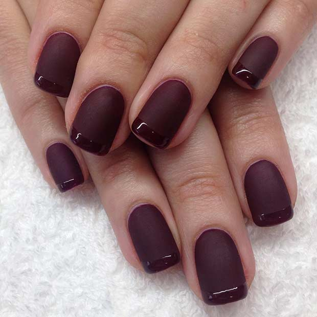 Mat and Glossy Burgundy French Tip Nail Design