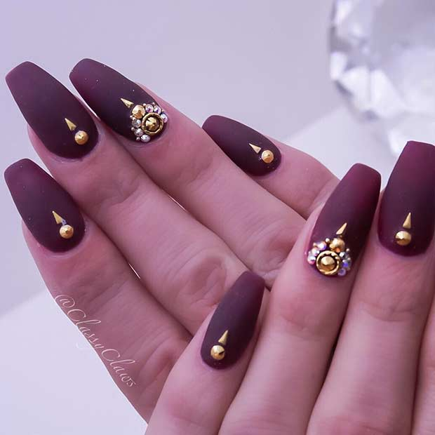 Mat Burgundy Coffin Nails with Gold Rhinestones