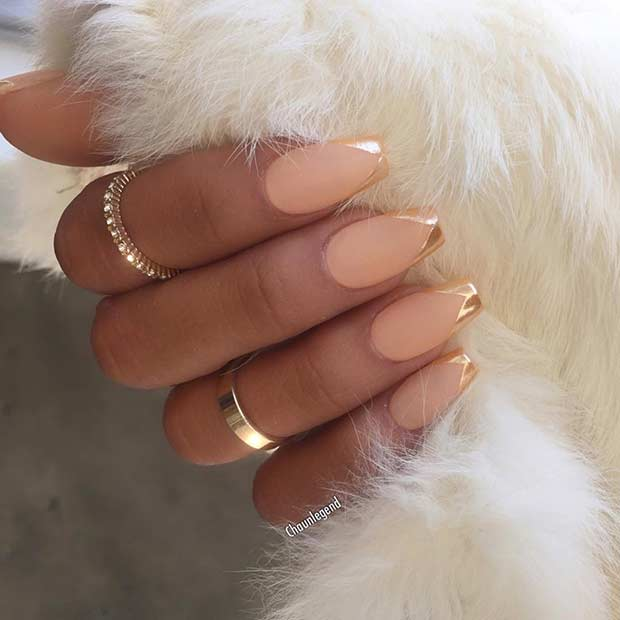 Mat and Gold Metallic French Tip Nail Design