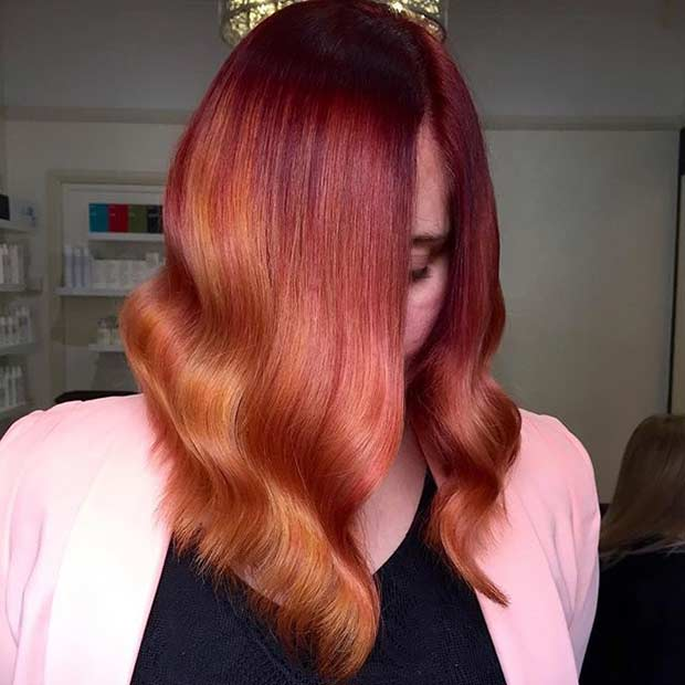 roșu to Copper Balayage Ombre Long Bob Hairstyle