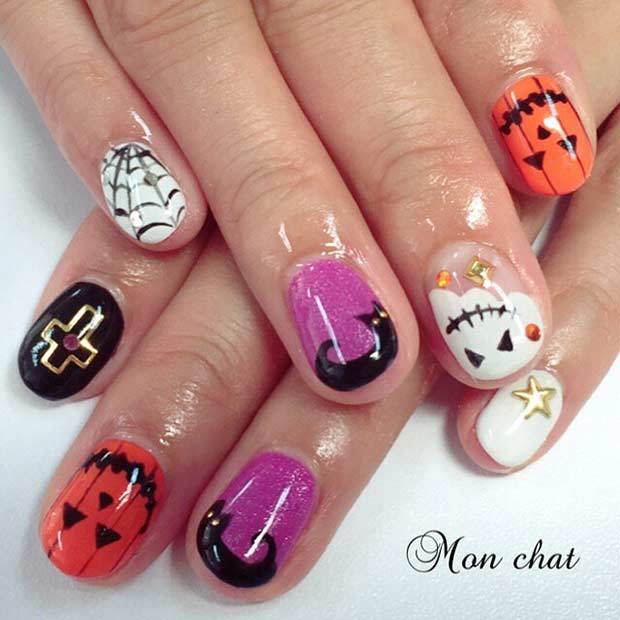 प्यारा Halloween Nail Art Design for Short Nails