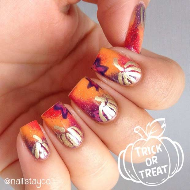 कद्दू Nails for Fall and Halloween