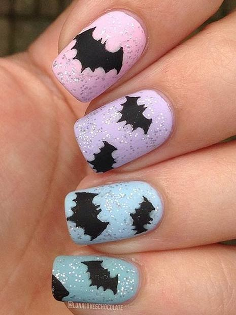 प्यारा Pastel Bat Nail Art Design for Halloween